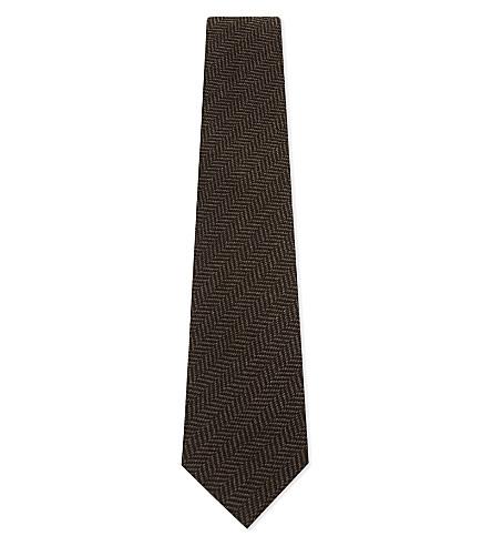 RALPH LAUREN PURPLE LABEL Herringbone cashmere-silk tie (Brown