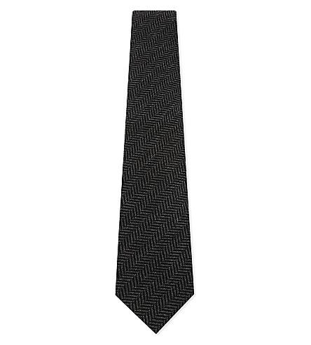 RALPH LAUREN PURPLE LABEL Herringbone cashmere-silk tie (Charcoal