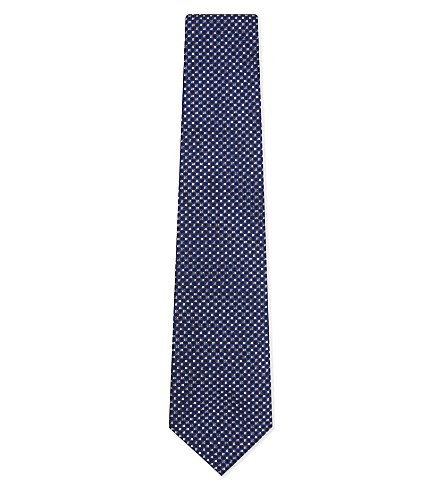 RALPH LAUREN PURPLE LABEL Micro flower silk tie (Royal+blue
