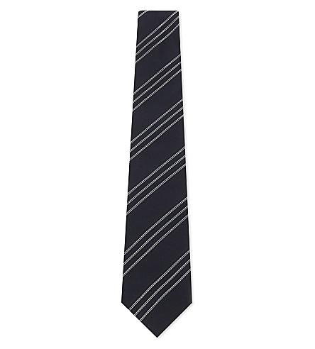 RALPH LAUREN PURPLE LABEL Regimental stripe silk tie (Navy