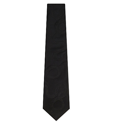 RALPH LAUREN PURPLE LABEL Embroidered snake silk tie (Black
