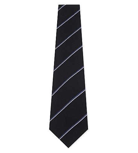 RALPH LAUREN PURPLE LABEL Club stripe cashmere-silk tie (Navy