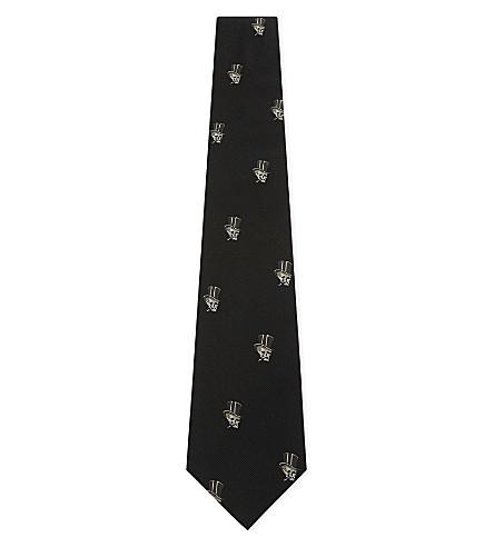 RALPH LAUREN PURPLE LABEL Tophat skull silk tie (Black