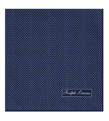 RALPH LAUREN PURPLE LABEL Printed silk pocket square (Blue