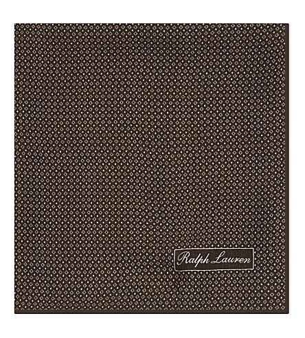 RALPH LAUREN PURPLE LABEL Printed silk pocket square (Brown