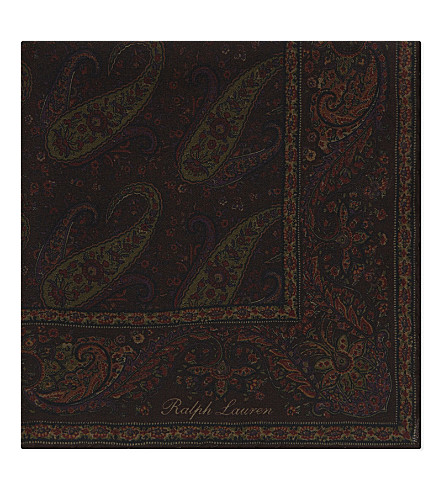RALPH LAUREN PURPLE LABEL Silk paisley print silk pocket square (Brown/olive