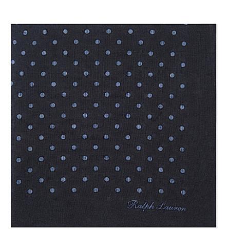 RALPH LAUREN PURPLE LABEL Polka dot cashmere and silk-blend pocket square (Navy
