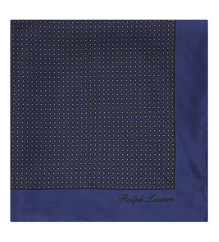 RALPH LAUREN PURPLE LABEL Printed silk pocket square (Royal