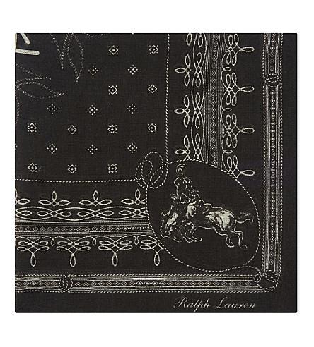 RALPH LAUREN PURPLE LABEL Logo cashmere and silk-blend pocket square (Black
