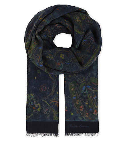 RALPH LAUREN PURPLE LABEL Paisley cashmere and wool-blend scarf (Navy