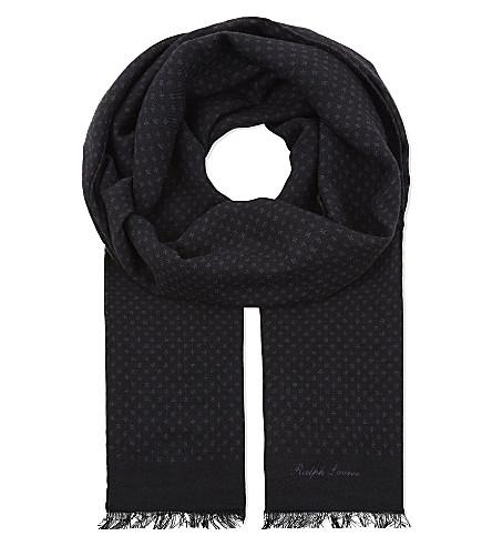 RALPH LAUREN PURPLE LABEL Cross cashmere scarf (Navy