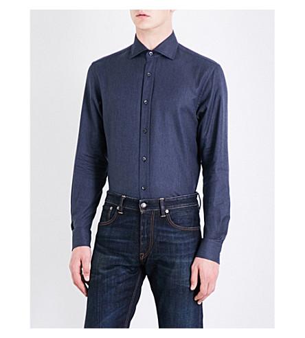 RALPH LAUREN PURPLE LABEL Hopsack-weave regular-fit cotton shirt (Navy