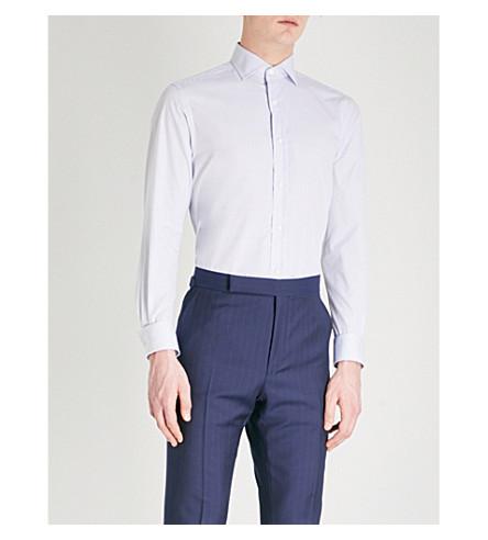 RALPH LAUREN PURPLE LABEL Slim-fit cotton shirt (Light+blue