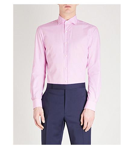 RALPH LAUREN PURPLE LABEL Bond dotted regular-fit cotton shirt (Pink+and+white