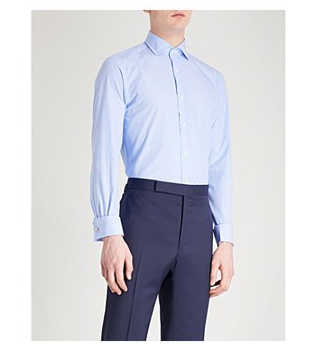 RALPH LAUREN PURPLE LABEL Bond striped slim-fit cotton shirt (Blue+white