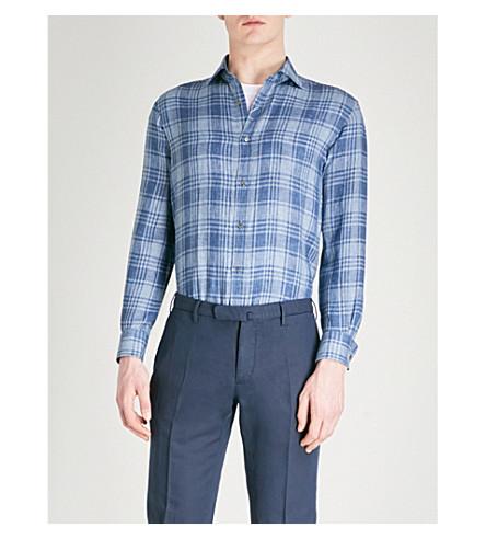 RALPH LAUREN PURPLE LABEL Checked linen shirt (Blue