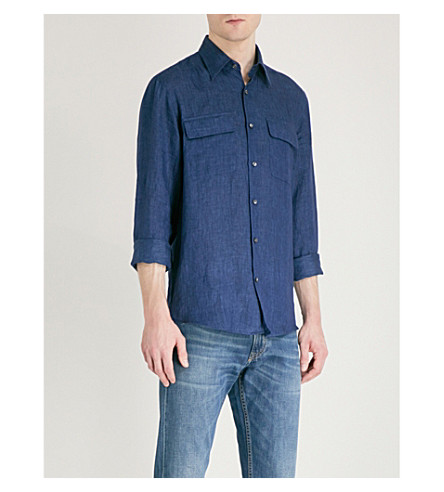 RALPH LAUREN PURPLE LABEL Regular-fit linen shirt (Indigo