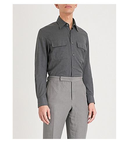 RALPH LAUREN PURPLE LABEL Regular-fit cotton shirt (Grey