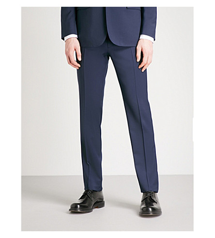 RALPH LAUREN PURPLE LABEL Anthony regular-fit straight wool trousers (Classic+navy