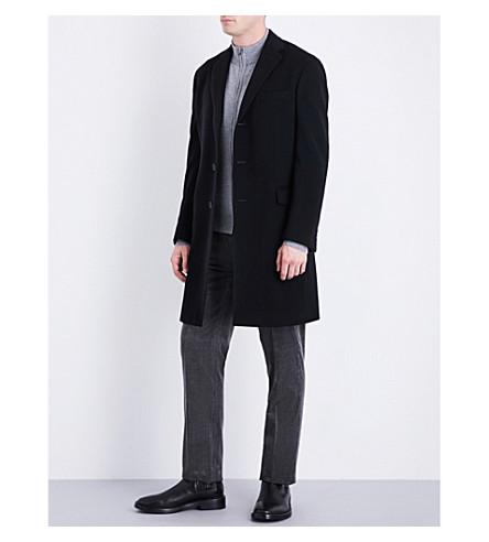 RALPH LAUREN PURPLE LABEL Melton wool and cashmere-blend coat (Black