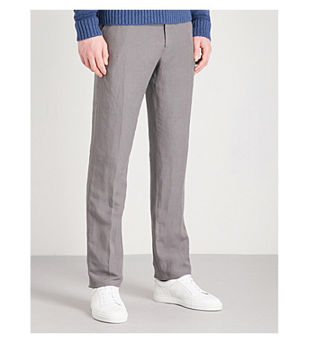 RALPH LAUREN PURPLE LABEL Anthony linen and silk-blend trousers (Grey
