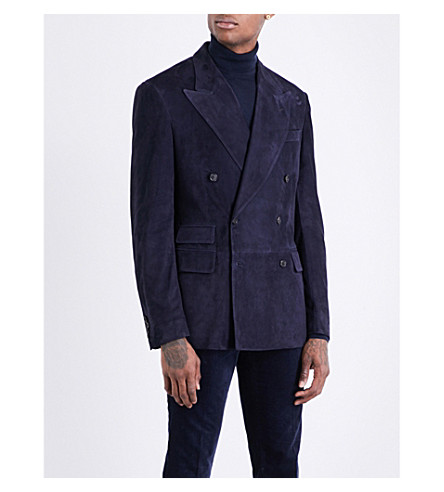 RALPH LAUREN PURPLE LABEL Double-breasted suede jacket (Navy