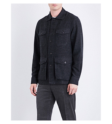 RALPH LAUREN PURPLE LABEL Prince of Wales-pattern cashmere and silk-blend jacket (Charcoal