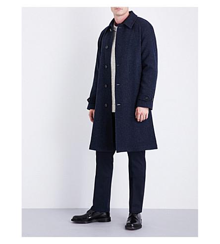 RALPH LAUREN PURPLE LABEL Basketweave-pattern wool and alpaca-blend coat (Navy