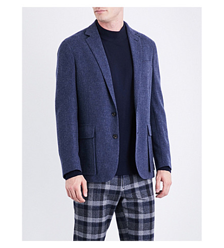 RALPH LAUREN PURPLE LABEL Herringbone-pattern regular-fit cashmere jacket (Blue+and+grey