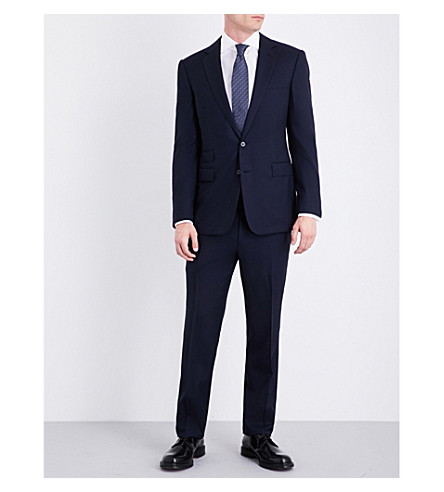 RALPH LAUREN PURPLE LABEL Houndstooth regular-fit wool and cashmere suit (Black+and+navy