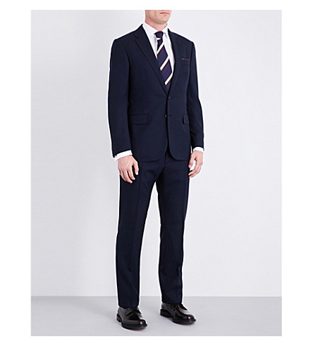 RALPH LAUREN PURPLE LABEL Glenplaid-patterned regular-fit wool suit (Navy