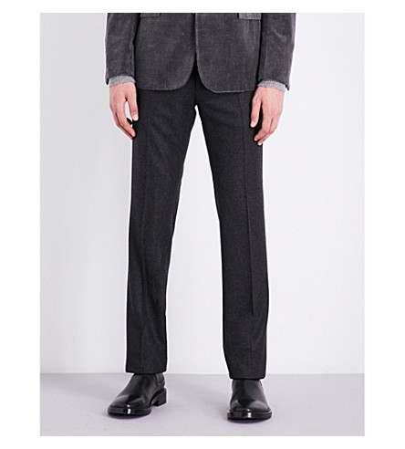 RALPH LAUREN PURPLE LABEL Slim-fit tapered wool trousers (Grey