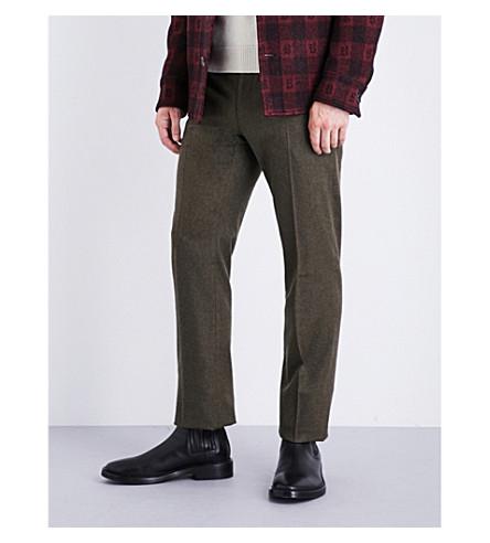 RALPH LAUREN PURPLE LABEL Regular-fit wool-flannel trousers (Khaki