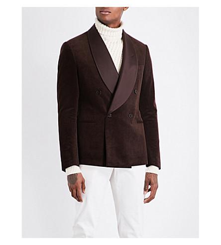 RALPH LAUREN PURPLE LABEL Slim-fit corduroy tuxedo jacket (Black