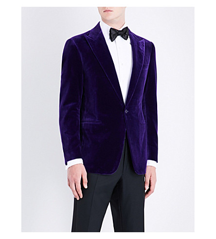 RALPH LAUREN PURPLE LABEL Slim-fit velvet jacket (Purple