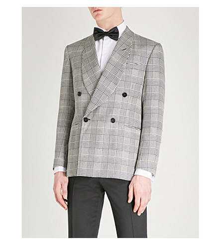 RALPH LAUREN PURPLE LABEL Double-breasted regular-fit silk blazer (Grey