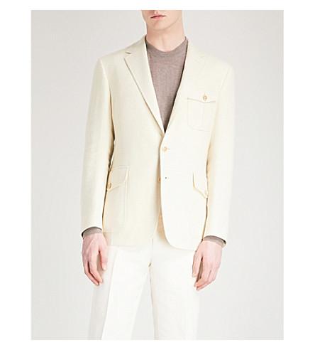 RALPH LAUREN PURPLE LABEL Watson regular-fit linen, silk and wool-blend jacket (Ivory