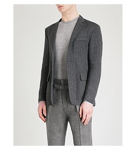 RALPH LAUREN PURPLE LABEL Positano basketweave linen-blend jacket (Black+grey