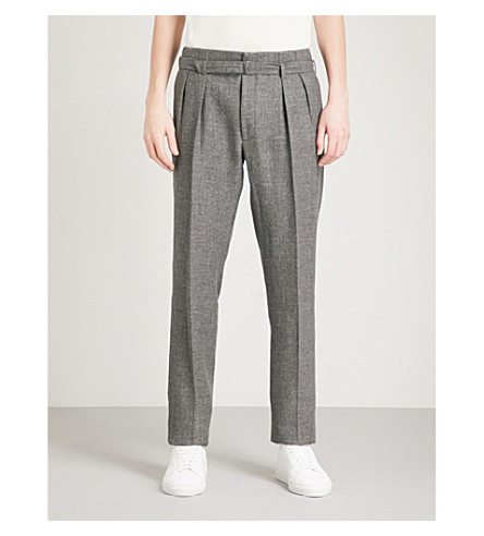RALPH LAUREN PURPLE LABEL Pleated regular-fit straight woven trousers (Grey