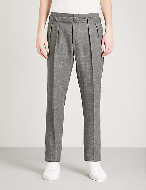 RALPH LAUREN PURPLE LABEL Pleated regular-fit straight woven trousers