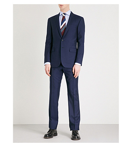 RALPH LAUREN PURPLE LABEL Regular-fit wool suit (Navy+blue