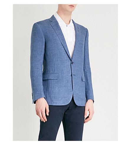 RALPH LAUREN PURPLE LABEL Anthony linen suit jacket (Blue+grey
