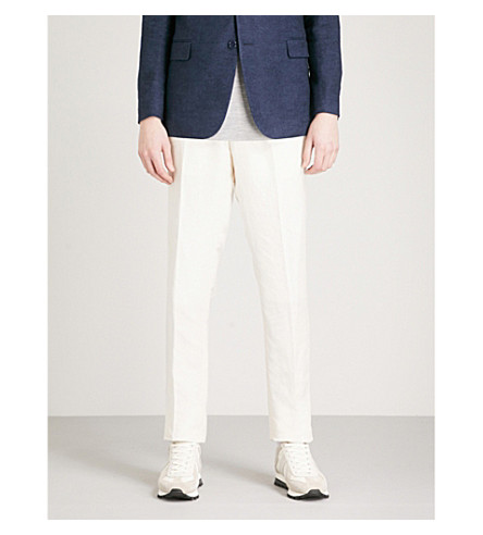RALPH LAUREN PURPLE LABEL Gregory slim-fit tapered linen-blend trousers (Ivory