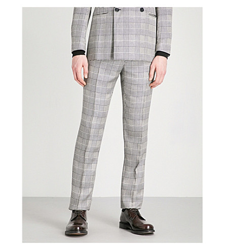 RALPH LAUREN PURPLE LABEL Glen plaid-check regular-fit straight silk trousers (Grey