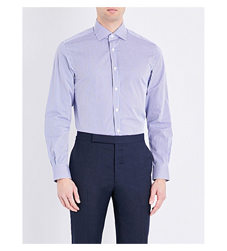 RALPH LAUREN PURPLE LABEL Aston striped slim-fit pure cotton shirt (Med+blue+&+whit