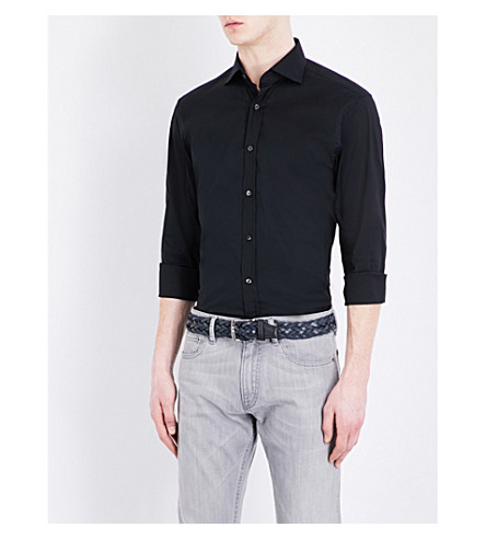RALPH LAUREN PURPLE LABEL Bond cotton shirt (Black