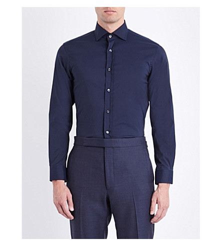 RALPH LAUREN PURPLE LABEL Bond cotton shirt (Navy
