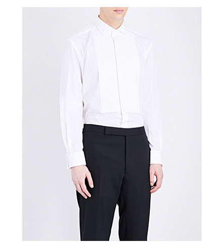 RALPH LAUREN PURPLE LABEL Regular-fit pleated bib cotton shirt (White