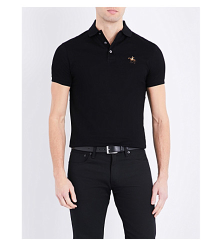RALPH LAUREN PURPLE LABEL Custom-fit cotton-piqué polo shirt (Classic+black