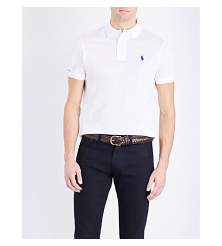 RALPH LAUREN PURPLE LABEL Custom-fit cotton-piqué polo shirt (Classic+white